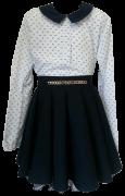 белая с бантиками блузка с поясом