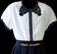 белая с чёрным блузка